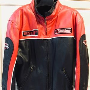 Wilda Genuine Leather Motorcycle Men racing Jacket